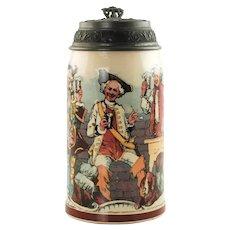 Antique Mettlach Villeroy and Boch PUG Stein 1909 1143 Cavaliers Drinking