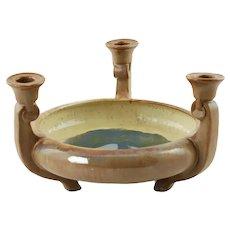 Antique Fulper Art Pottery Flambe Glaze Triple Candleholder Centerpiece Footed Bowl
