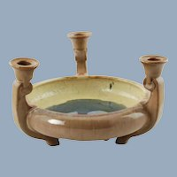 Vintage Fulper Art Pottery Flambe Glaze Triple Candleholder Centerpiece Footed Bowl