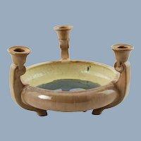 Vintage Fulper Art Pottery Flambe Glaze Triple Candleholder Centerpiece Footed Bowl