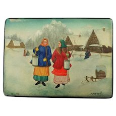 Vintage Hand Painted Soviet Era Fedoskino Russian Lacquer Paper Mache Footed Box