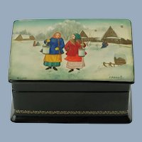 Vintage Fedoskino Russian Lacquer Paper Mache Footed Box after The Rivals by Nikolay Kasatkin