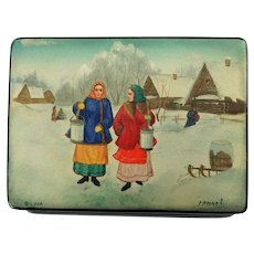 Vintage Hand Painted Soviet Era Fedoskino Russian Lacquer Paper Mache Box after The Rivals by Nikolay Kasatkin