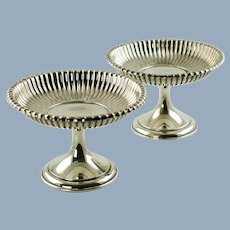 Antique Pair Gorham Sterling Silver Leamington Pattern Weighted Compotes