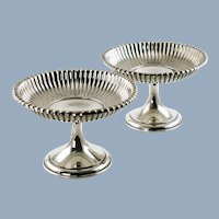 Vintage Pair Gorham Sterling Silver Leamington Pattern Weighted Compotes