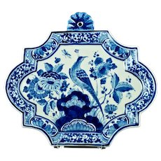 Vintage Royal Delft De Porceleyne Fles Hand Painted Wall Plaque with Peacock and Butterfly