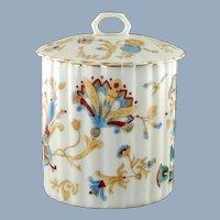 Antique Aesthetic Movement Transferware Porcelain Fluted Gilt Trim Biscuit Barrel