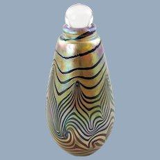 Vintage Robert Eickholt Signed Art Glass King Tut Pulled Feather Perfume Bottle