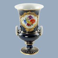 Vintage Meissen Porcelain Campagna Form Urn Vase Cobalt Blue with Hand Painted Floral Decoration