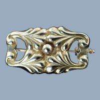 Antique Early Georg Jensen Pre-1945 Silver Brooch Pin Design 88 with Trombone Clasp Art Nouveau Era