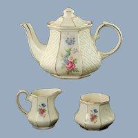 Vintage Sadler England Gilded Floral Embossed Trellis Teapot, Cream Jug and Open Sugar Bowl Set