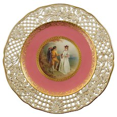 Rare Antique Mintons Antonin Boullemier Hand Painted Reticulated Plate with Gilt Crowned Globe Mark