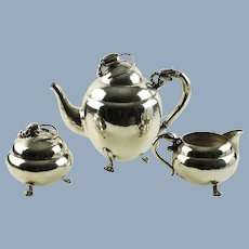 Vintage Art Nouveau Blossom Motif Sterling Silver Tea Set - Teapot, Lidded Sugar Bowl and Creamer