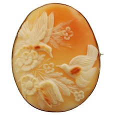 Large Vintage 14K White Gold Carved Shell Bird and Flower Cameo Brooch Pin