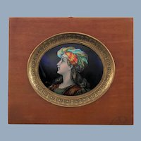 Antique French Limoges Hand Painted Enamel on Copper Convex Oval Plaque in Wood Frame