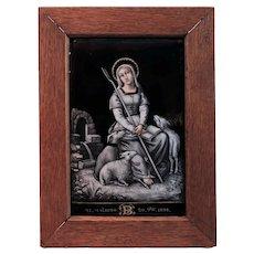 Antique French Parcel Gilt Grisaille Enamel Devotional Plaque Saint Genevieve Patron Saint of Paris