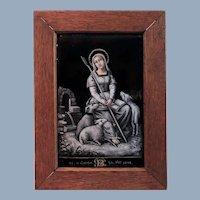 Antique French Limoges Hand Painted Grisaille Enamel on Copper Convex Plaque - Saint Genevieve Patron Saint of Paris