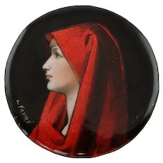 Vintage Camille Faure Limoges Enamel on Copper Plaque Fabiola after Jean-Jacques Henner