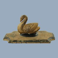 Antique Victorian Cast Iron Swan Paperweight with Gilt Paint