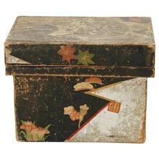 Vintage Japanese Taisho Period Papered Wood Foil Lined Tea Box Tea Caddy Art Deco