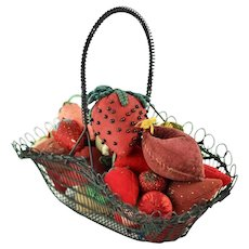 Antique Collection of 38 Victorian Strawberry Form Emery Pin Cushions with 19th Century Twisted Wire Basket