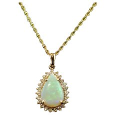 Vintage Opal and Diamond 14k Yellow Gold Pendant with 14k Gold Necklace