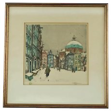 Vintage Tavik František Šimon Soft Ground Etching and Aquatint Snow in Amsterdam The Koepelkerk