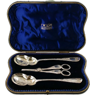 Antique English Sterling Silver Cased 3 Piece Fruit Serving Set by George Jackson and David Fullerton