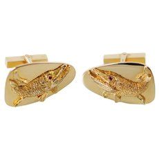 Vintage Tiffany & Co 14K Gold and Ruby Cufflinks with Pike Fish Motif Original Tiffany Pouch