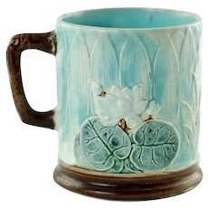 Antique Joseph Holdcroft English Majolica Pond Water Lily Motif Mug
