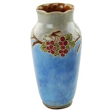 Vintage English Doulton Lambeth Vera Huggins Florrie Jones Grape Motif Vase