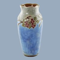 Antique English Doulton Lambeth Vera Huggins Florrie Jones Grape Motif Vase