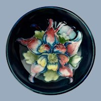 Vintage Walter Moorcroft Columbine Pattern Footed Bowl