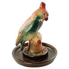 Vintage Weller Ware Art Pottery Figural Bird Flower Frog with Undertray