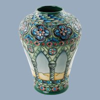 Vintage Moorcroft Pottery Meknes Day Vase Signed and Numbered Limited Edition by Beverley Wilkes in Original Box