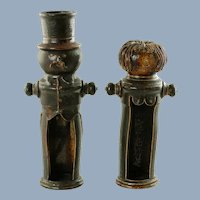 Vintage Lantern Style Candle Holders Figural Man and Woman German Studio Art Pottery