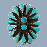 Large Vintage Zuni Turquoise Petit Point and Snake Eye Sterling Silver Split Shank Cluster Ring