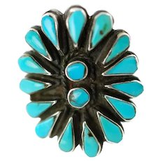 Vintage Zuni Turquoise Petit Point and Snake Eye Sterling Silver Ring