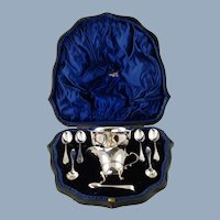 Antique Wakely & Wheeler Cased George III Style Sterling Silver Sugar Bowl and Creamer Presentation Set