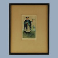 Vintage May Gearhart Signed Drypoint and Color Aquatint Flower Vendor