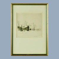 "Vintage Arthur William Hall Pencil Signed Etching ""Village Under Snow"""
