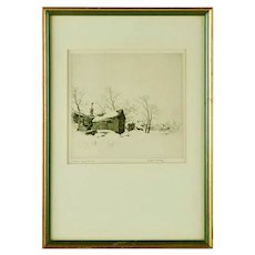 "Vintage Arthur William Hall Pencil Signed Etching ""Village Under Snow"""