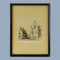 Vintage Samuel Chamberlain Signed Limited Edition Etching - Place Notre Dame, Senlis