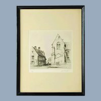 Antique Samuel Chamberlain Signed Limited Edition Etching - Place Notre Dame, Senlis