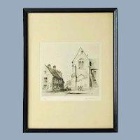 Vintage Samuel Chamberlain Limited Edition Etching - Place Notre Dame, Senlis