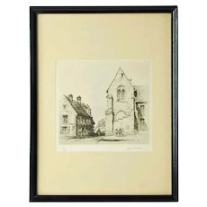 Vintage Samuel Chamberlain Limited Edition Etching - Place Notre Dame, Senlis
