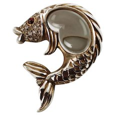 Vintage Sterling Silver Vermeil Wash Jelly Belly Fish Brooch with Pave Set Rhinestones