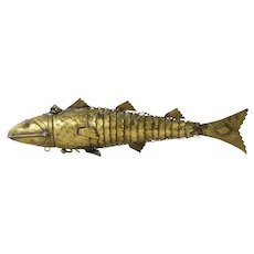 Vintage Articulated Brass Figural Fish Spice Caddy
