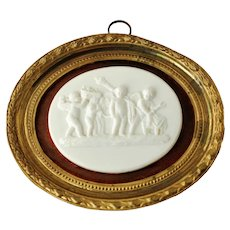 Antique Carved White Marble Plaque The Marriage of Cupid and Psyche after Tryphon