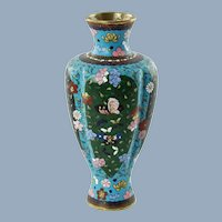 Antique Meiji Period Japanese Cloisonné Vase with Phoenix Bird, Butterfly and Floral Motif